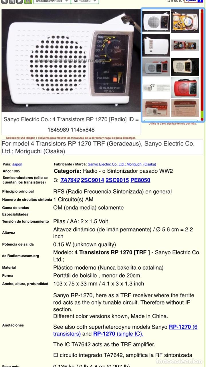 Radios antiguas: Radio Sanyo RP 1270, funciona, ver vídeo. - Foto 9 - 195323958