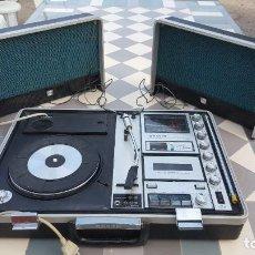 Radios antiguas: SANYO SOLID STATE STEREO MUSIC CENTRE MODEL G-2615N EQUIPO PORTÁTIL TOCADISCOS, CASSETTE, RADIO FM. Lote 195339457