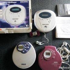 Radios antiguas: 3 REPRODUCTORES DE COMPACT DISC PLAYER DIGITALES -CON CASCOS. MP3, CD`S. MARCA MICROSTAR-AEG Y RCA. Lote 200086377