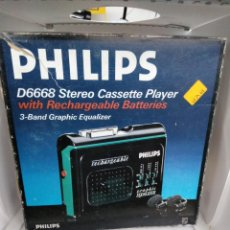 Radios antiguas: WALKMAN RECARGABLE TAPE PLAYER STEREO-PHILIPS D6668-RECHARGEABLE-EQUALIZER-NUEVO CAJA CASCOS AIWA. Lote 202425642