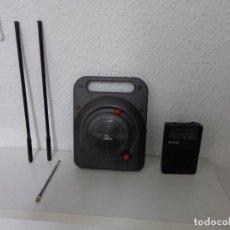 Radios antiguas: LOTE RADIOS TRANSISTORES PUBLICIDAD CUBIERTAS, RADIO PEQUEÑA PHILIPS Y 3 ANTENAS TELESCOPICAS. Lote 202819505