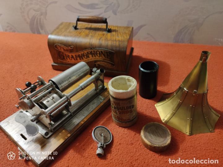 Radios antiguas: MAGNIFICO Y PRECIOSO FONOGRAFO COLUMBIA FUNCIONANDO CON UN CILINDRO VER VIIDEO - Foto 7 - 221927468