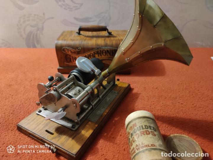 Radios antiguas: MAGNIFICO Y PRECIOSO FONOGRAFO COLUMBIA FUNCIONANDO CON UN CILINDRO VER VIIDEO - Foto 9 - 221927468