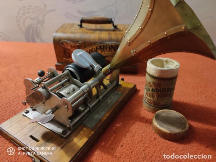 Radios antiguas: MAGNIFICO Y PRECIOSO FONOGRAFO COLUMBIA FUNCIONANDO CON UN CILINDRO VER VIIDEO - Foto 11 - 221927468