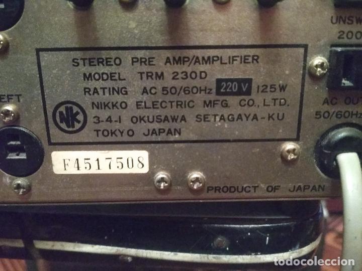 Radios antiguas: AMPLIFICADOR NIKKO TRM-230 VINTAGE MUY BUEN ESTADO RAMON ELECTRONICA - Foto 7 - 231073585
