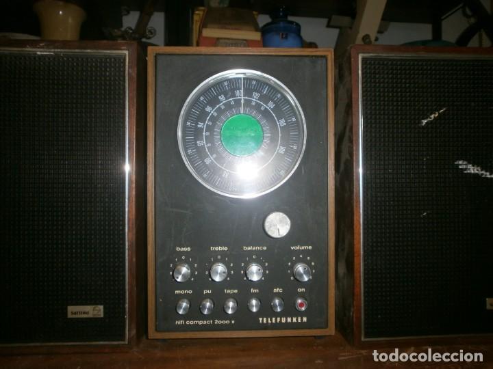 TELEFUNKEN HIFI COMPAQ 2000 X VINTAGE - ALTAVOCES PHILIPS MADERA - 26X18X18 CM. FUNCIONANDO (Radios, Gramófonos, Grabadoras y Otros - Transistores, Pick-ups y Otros)