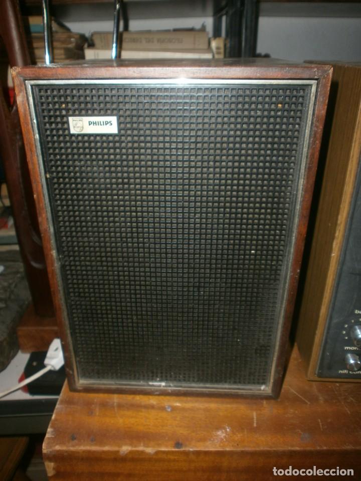 Radios antiguas: TELEFUNKEN HIFI COMPAQ 2000 X VINTAGE - ALTAVOCES PHILIPS MADERA - 26X18x18 CM. FUNCIONANDO - Foto 6 - 246131060