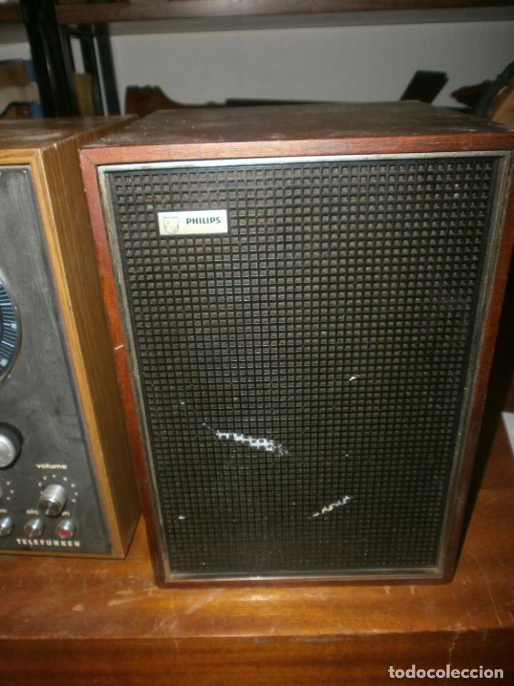 Radios antiguas: TELEFUNKEN HIFI COMPAQ 2000 X VINTAGE - ALTAVOCES PHILIPS MADERA - 26X18x18 CM. FUNCIONANDO - Foto 7 - 246131060