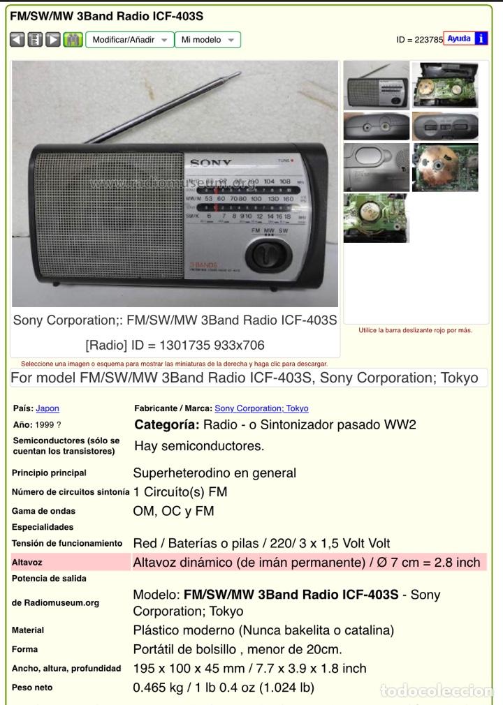 Radios antiguas: Radio Sony ICF 403S. Funciona, ver vídeo. - Foto 11 - 253370355