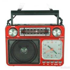 Radios antiguas: ALTAVOZ MULTIMEDIA RADIO RELOJ ALARMA TARJETA USB NUEVO. Lote 254258700