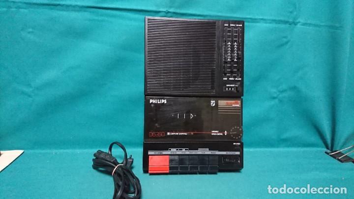 CASETE PORTÁTIL GRABADOR PHILIPS D6350, FUNCIONANDO (Radios, Gramófonos, Grabadoras y Otros - Transistores, Pick-ups y Otros)