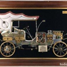 Radios antiguas: EXCEPCIONAL RADIO - CUADRO O PANOPLIA - FIAT 1906 CON MAQUETA DE COCHE ANTIGUO TRANSISTOR DECORATIVO. Lote 77273101
