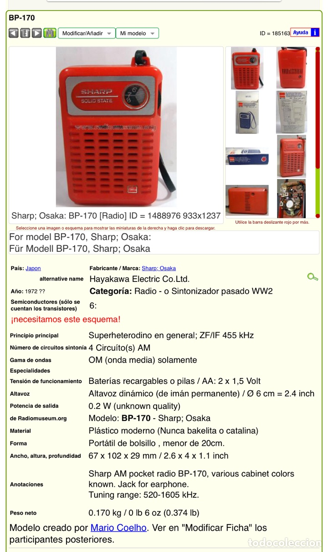 Radios antiguas: Radio Transistor Sharp BP-170, funciona, ver vídeo. - Foto 8 - 271611003