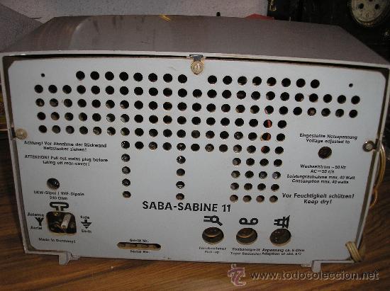 Radios de válvulas: Radio SABA modelo SABINE 11 de 1955- funciona -220V - Foto 3 - 57427910