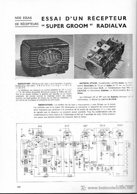 Radios de válvulas: RADIO MUY ANTIGUA DE BAQUELITA DE 1939 RADIALVA SUPER GROOM 41 - Foto 6 - 27550495