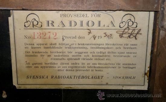 Radios de válvulas: RADIO RADIOLA AÑO 1930 - Foto 5 - 30360683