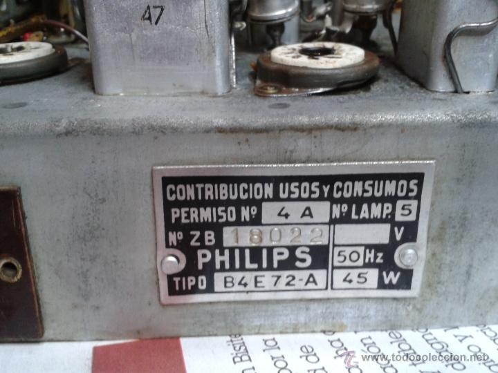 Radios de válvulas: Antigua radio PHILIPS Mod.B4E72 A. FUNCIONANDO - Foto 6 - 41140790
