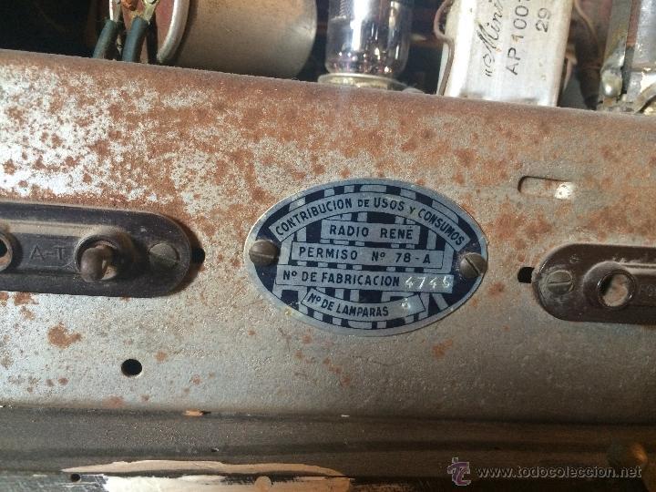 Radios de válvulas: Antigua radio super electronic Radio René de los años 40 - Foto 8 - 50373302