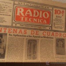 Radios de válvulas: ANTIGUO PERIODICO RADIO TECNICA AÑO 1939. Lote 50639513