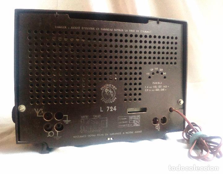 Radios de válvulas: ANTIGUA RADIO DE VÁLVULAS DUCRETET THOMSON - L 724. - Foto 5 - 75258615