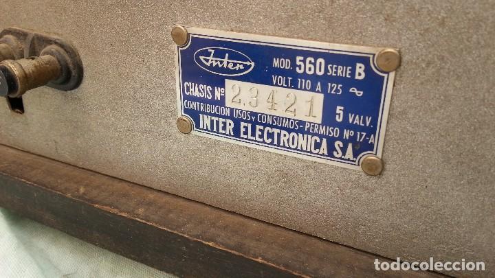 Radios de válvulas: Radio de válvulas antigua. Marca INTER. Años 60-70 - Foto 14 - 125964067