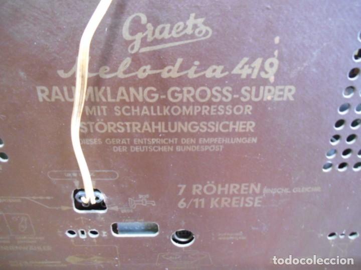 Radios de válvulas: Antiguo Radio de válvulas original, GRAETZ, MELODIA 419, funcionando gran sonido. - Foto 20 - 148099182
