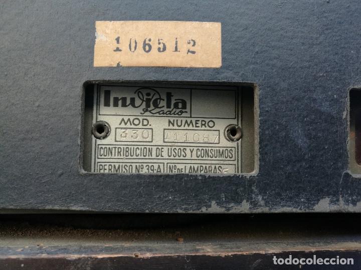 Radios de válvulas: RADIO INVICTA 330. MUEBLE MADERA. PRECIOSA. (VER FOTOS) - Foto 7 - 149542906