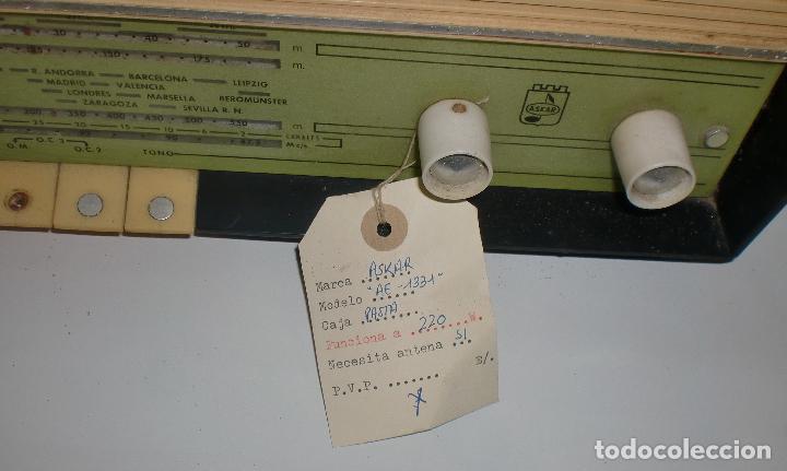 Radios de válvulas: RADIO. ASKAR. MODELO AE - 1331. FUNCIONA. BUEN ESTADO. VER FOTOS - Foto 9 - 76439399
