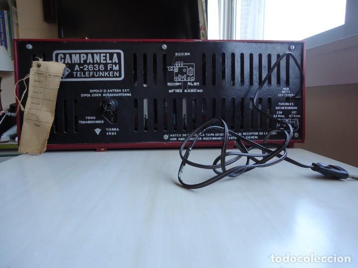 Radios de válvulas: RADIO MODELO CAMPANELA DE TELEFUNQUEN EN COLOR ROJO - Foto 2 - 163961030