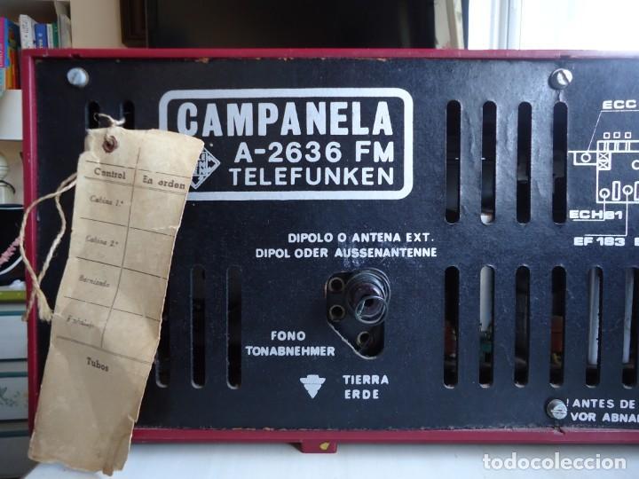 Radios de válvulas: RADIO MODELO CAMPANELA DE TELEFUNQUEN EN COLOR ROJO - Foto 3 - 163961030