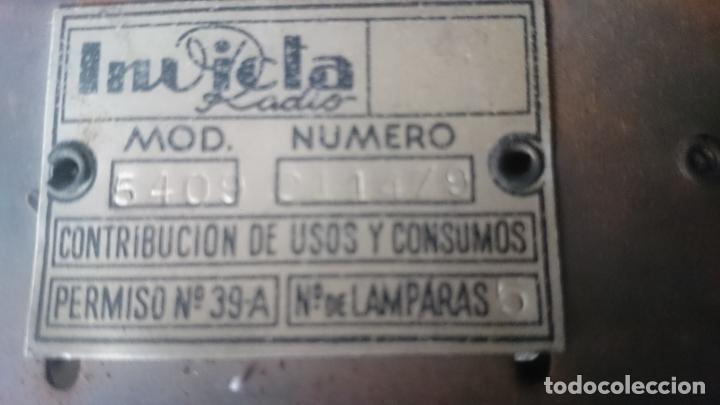 Radios de válvulas: RADIO INVICTA 5409 de 1950 CON TRANSFORMADOR Y VOLTIMETRO AÑADIDOS - Foto 10 - 175046688