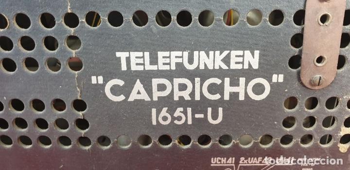 Radios de válvulas: RADIO A VÁLVULAS TELEFUNKEN CAPRICHO 1651-U. BAQUELITA. CIRCA 1950. - Foto 7 - 183643336