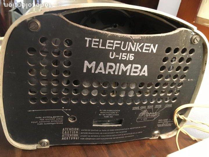 Radios de válvulas: Radio de baquelita telefunken marimba funcionando con transformador a 125 v. 18x24x14 cms - Foto 3 - 190860345