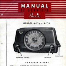 Radios de válvulas: MANUAL SERVICIO Y ESQUEMA ORIGINAL IBERIA. MODELO A-71G Y A-71B. Lote 193073550
