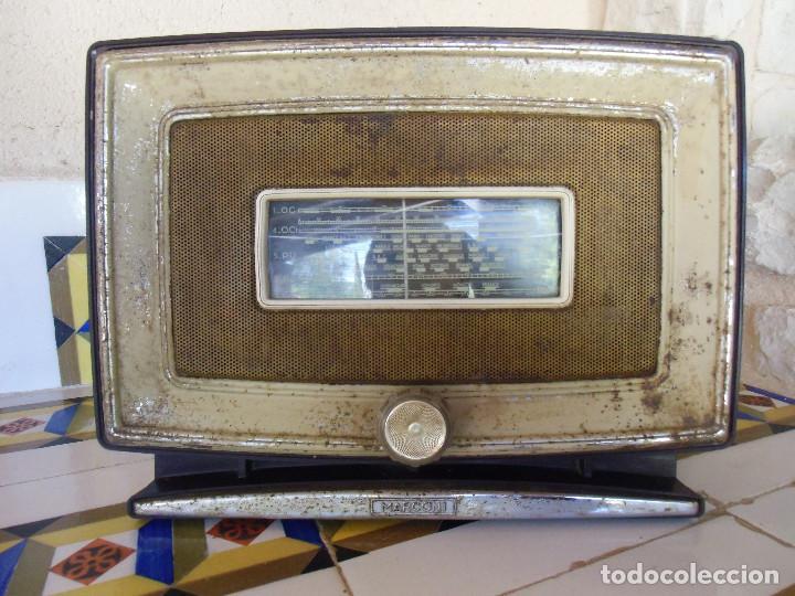 INUSUAL Y RARA APARATO DE RADIO MARCONI MOD.450.CARCASA METALICA.33X25X17 CM. (Radios, Gramófonos, Grabadoras y Otros - Radios de Válvulas)
