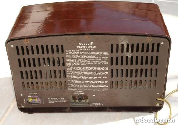Radios de válvulas: RADIO COSSOR, MELODY MAKER, MODEL 501AG, BAQUELITA. BANDAS CORTA, LARGA Y MEDIA - Foto 2 - 194351411