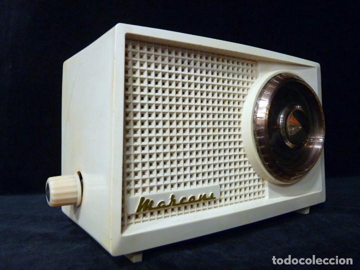 Radios de válvulas: ANTIGUA RADIO MARCONI MOD. UM 137 DE 4 VÁLVULAS. 21,5x14x12 cm. AÑO 1952. FUNCIONANDO. ESCASA - Foto 7 - 197161791
