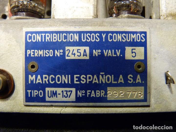Radios de válvulas: ANTIGUA RADIO MARCONI MOD. UM 137 DE 4 VÁLVULAS. 21,5x14x12 cm. AÑO 1952. FUNCIONANDO. ESCASA - Foto 15 - 197161791