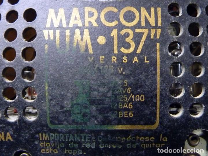 Radios de válvulas: ANTIGUA RADIO MARCONI MOD. UM 137 DE 4 VÁLVULAS. 21,5x14x12 cm. AÑO 1952. FUNCIONANDO. ESCASA - Foto 20 - 197161791