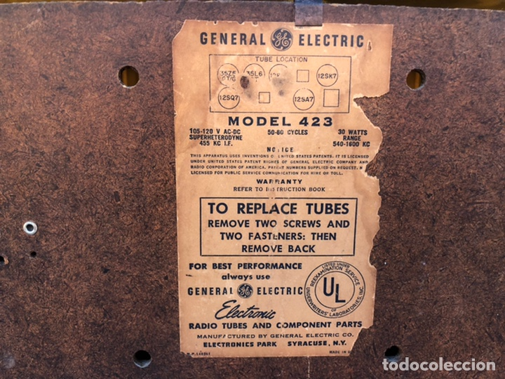 Radios de válvulas: Radio antigua General Electric 423. USMO - Foto 11 - 214961462