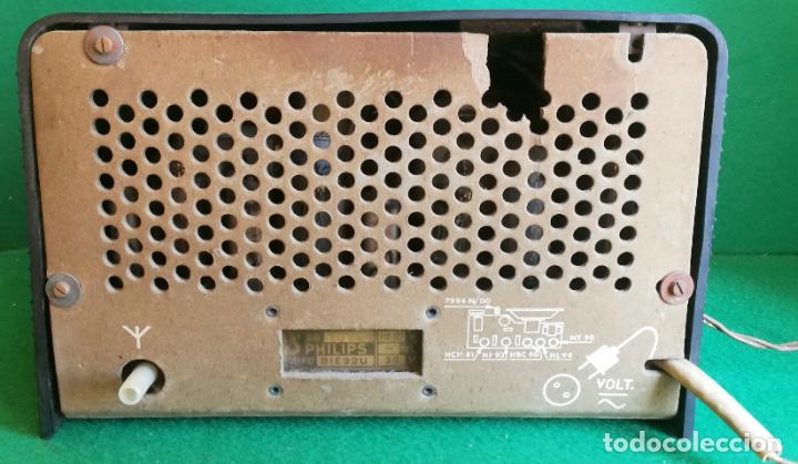 Radios de válvulas: RADIO PHILIPS B1E 92U - 1959 - BUEN ESTADO Y FUNCIONANDO - Foto 4 - 219763390