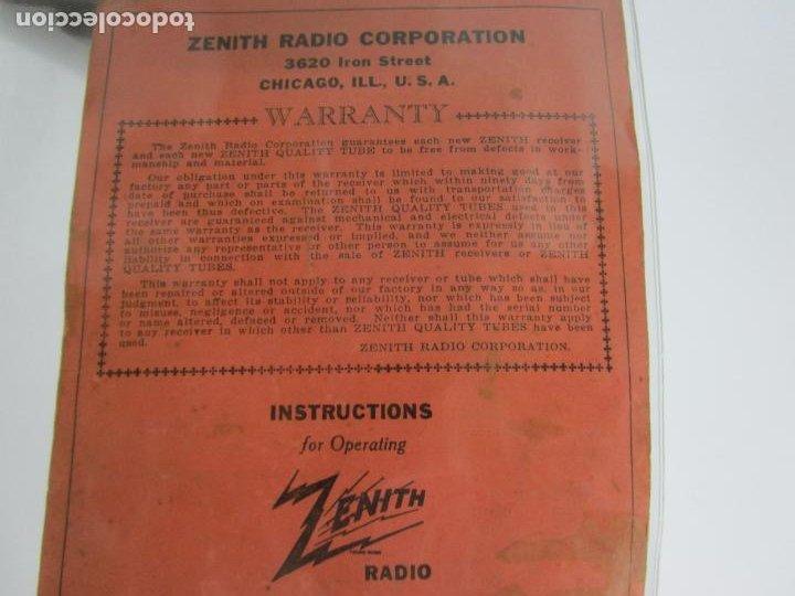 Radios de válvulas: Radio Zenith 812 - Art Decó - se Fabricaron 1154 Unidades -Instrucciones - Año 1935 - Foto 22 - 221359693