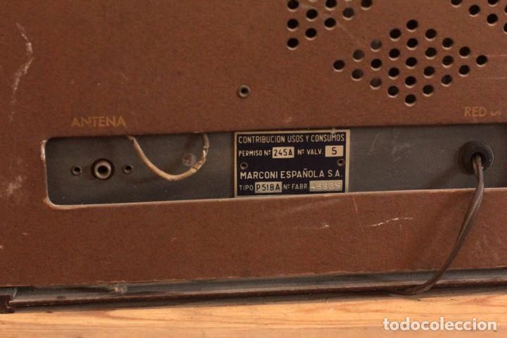 Radios de válvulas: RADIO A VALVULAS MARCONI P51BA. Muy buen estado. Funcionando. - Foto 7 - 223104418