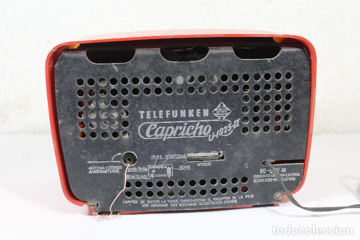 Radios de válvulas: RADIO TELEFUNKEN CAPRICHO U-1925-II , ROJA - Foto 7 - 268859829
