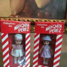 Reediciones Muñecas Españolas: PAREJA MUÑECAS MARIQUITA PEREZ MINI SIN UTILIZAR EN CAJA. Lote 153437054