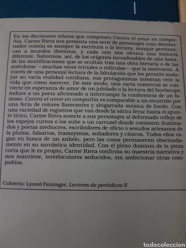 Relatos y Cuentos: Carme Riera. Contra el amor en compañía y otros relatos - Foto 2 - 190616207