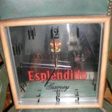 Relojes automáticos: BONITO RELOJ ESPEJO DE PUBLICIDAD BRANDY DE JEREZ ESPLENDIDO FUNCIONANDO PERFECTO . Lote 39707420