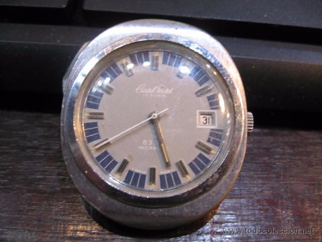 RELOJ DE CABALLERO OVALADO MARCA CRISTAL WATCH CALENDARIO - FUNCIONANDO 42 X 37 MM. (Relojes - Relojes Automáticos)