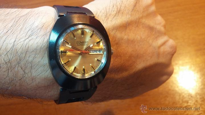 RELOJ DUWARD AUTOMATICO, AS 2066, MODELO DE RARO Y ESCASO DE COLOR NEGRO EN PVD, DE LOS AÑOS 70 (Relojes - Relojes Automáticos)