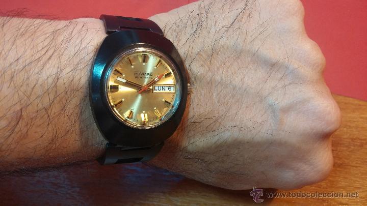 Relojes automáticos: Reloj DUWARD AUTOMATICO, AS 2066, modelo de RARO y ESCASO de color negro en PVD, de los años 70 - Foto 2 - 53395787